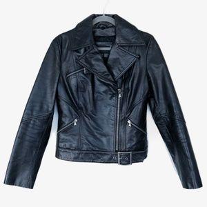 Express Black Leather Motorcycle Jacket